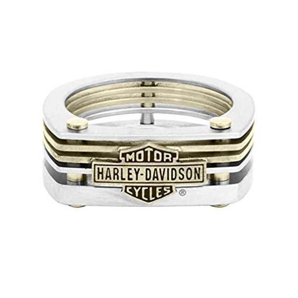 BAR & SHIELD BRASS AND STEEL CUT OUT RING
