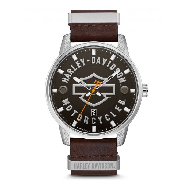 Men's Bar & Shield Brown Leather Stainless Steel Watch