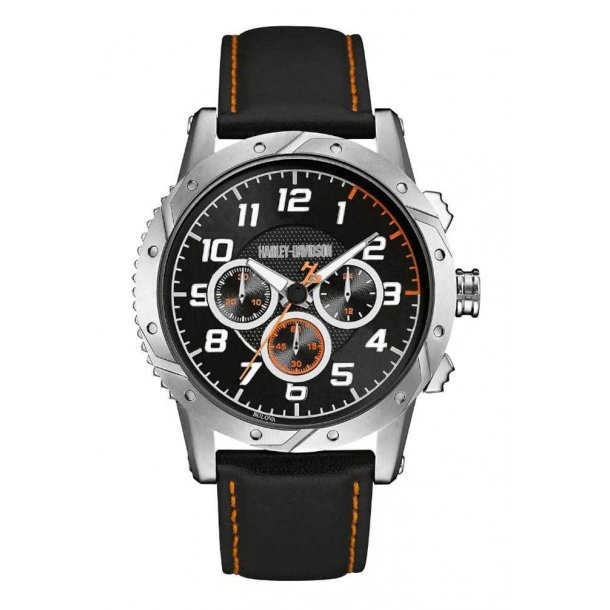 Men's Chronograph Brake Plate Watch, Stainless/Leather