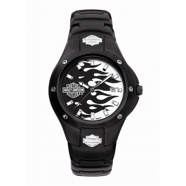Mens Harley Davidson Black Flames Watch