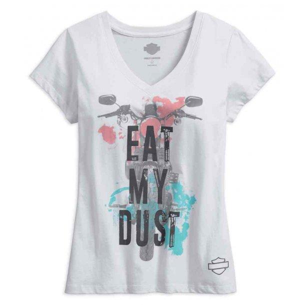 Eat My Dust V-Neck Short Sleeve Tee, White