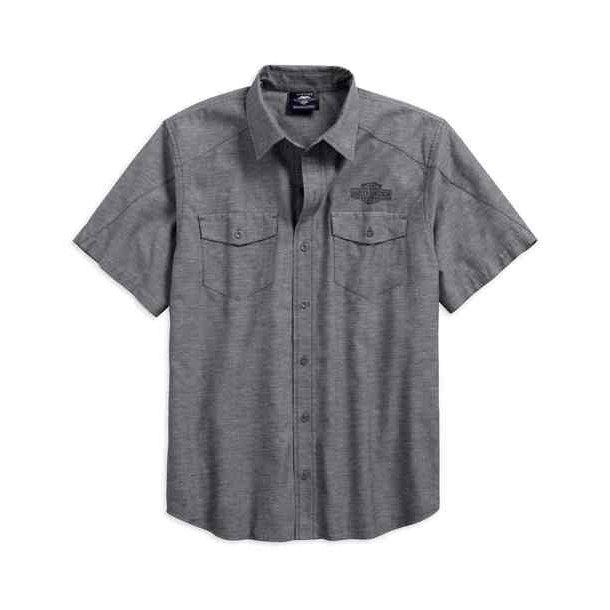 Harley-Davidson® Men's Vintage Logo Textured Button Short Sleeve Shirt