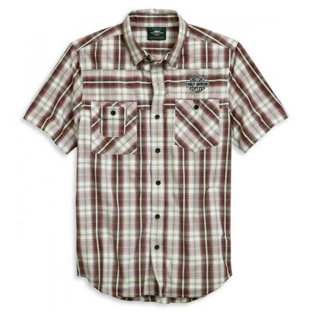 Harley-Davidson® Men's Embroidered B&S Short Sleeve Plaid Woven Shirt