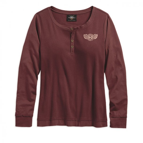 Ladies Long Sleeved Logo Waffle Top Pullover Henley T-Shirt Tee