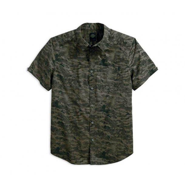 Harley-Davidson® Men's Printed Camo Slim Fit Short Sleeve Button Shirt