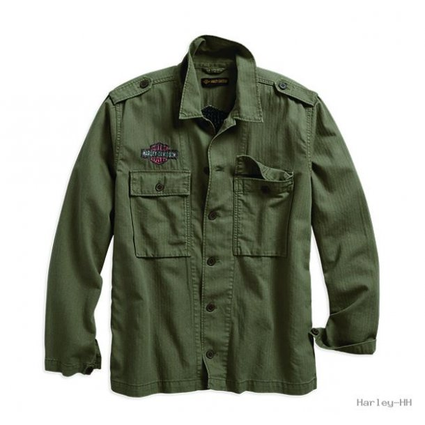 Logo Slim Fit Shirt Jacket Green