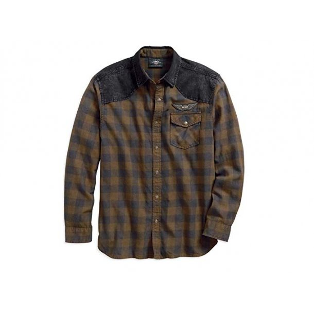 Harley-Davidson Denim Accent Plaid Shirt Hemd