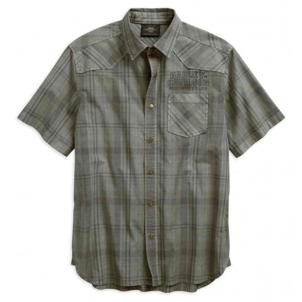 Harley-Davidson® Men's Over-Dyed Plaid Short Sleeve Woven Shirt