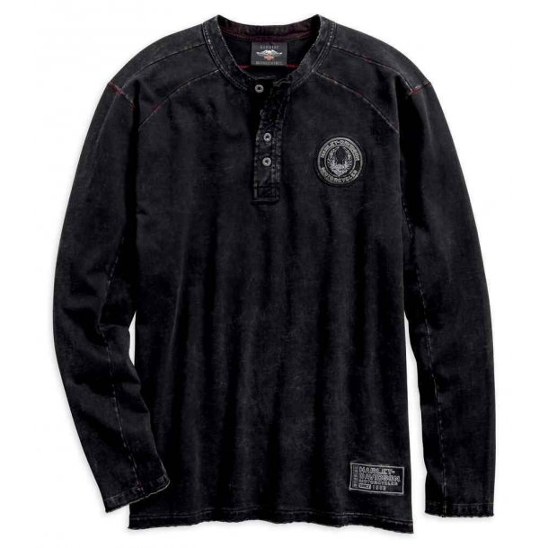 Harley-Davidson® Men's Specialty Washed Henley Long Sleeve Shirt