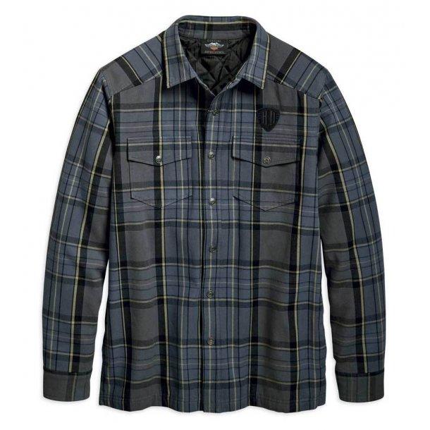 Harley-Davidson®Mens Snap-Front Plaid Shirt Jacket