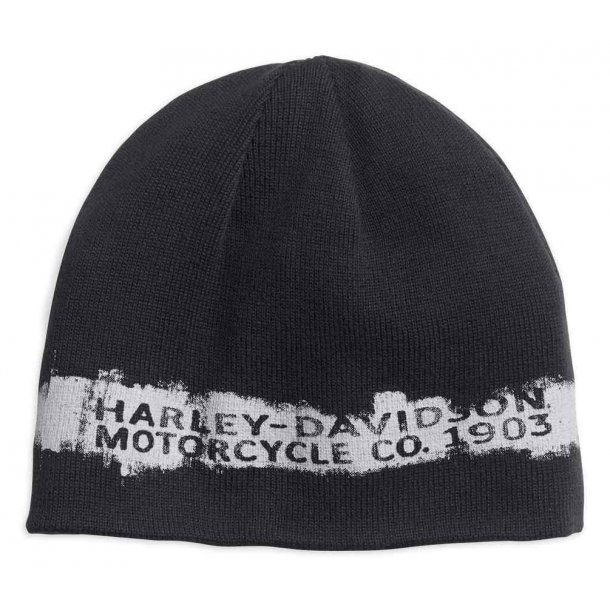 Harley-Davidson® Men's Reversible Textured Stripe Knit Beanie Hat