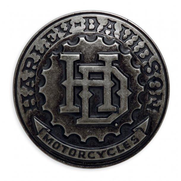 Mens 3D H-D Gear Antique Nickel Buckle