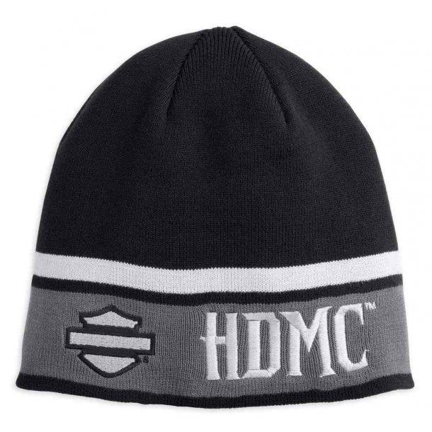 HDMC Logo Striped Knit Beanie Hat, Black