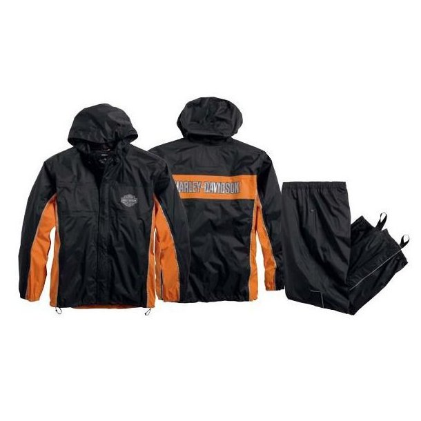 H-D® Mens Generations Reflective Waterproof Black Rain Suit