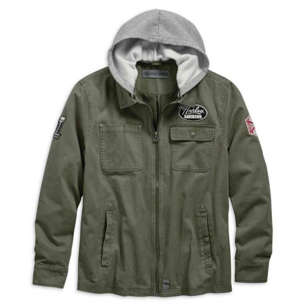 Men's Hoodie Cotton Slim Fit Casual Jacket, Green