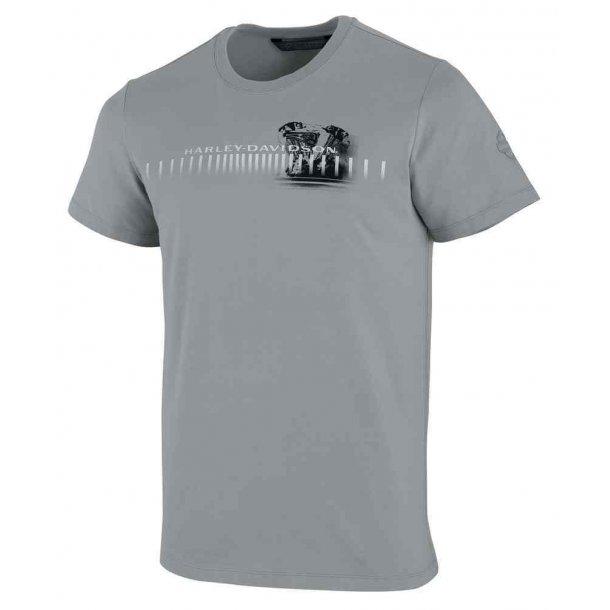 Harley-Davidson® Men's Horizontal Engine Print Slim Fit Tee, Grey