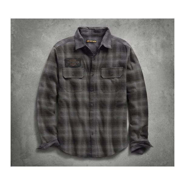 MEN'S SUBLIMATED LOGO PLAID SLIM FIT SHIRT