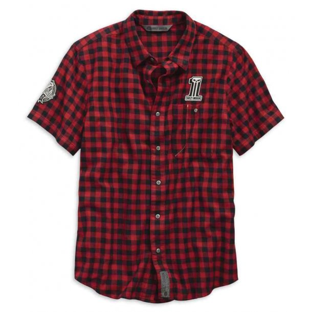 Men's Checked Plaid Slim Fit Woven Shirt, Red