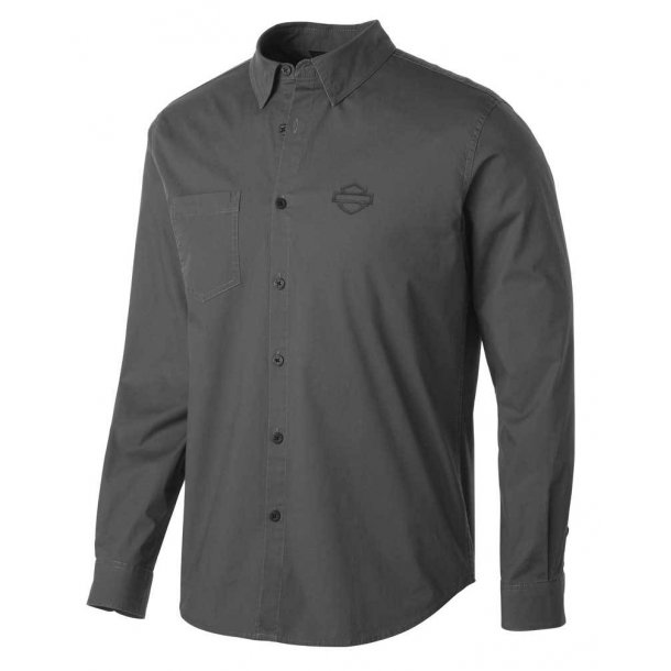 Men's Stretch Long Sleeve Slim Fit Shirt, Gray