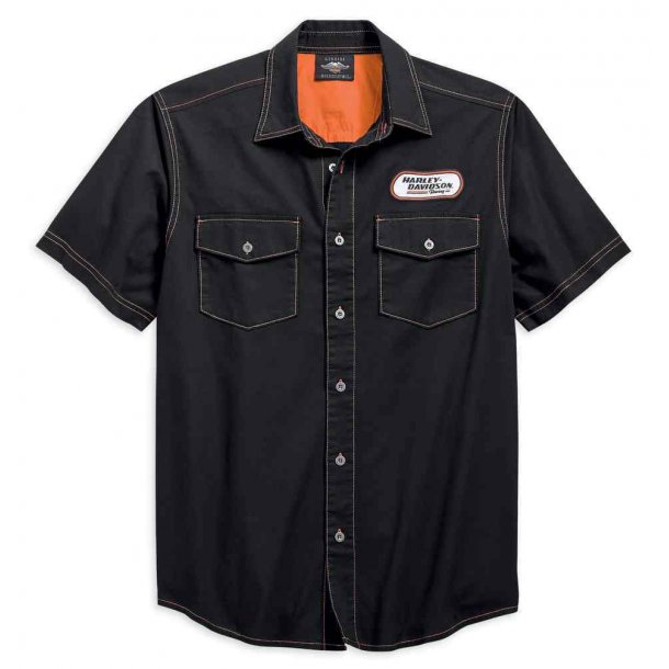 Harley-Davidson® Men's H-D Racing Short Sleeve Woven Shirt, Black