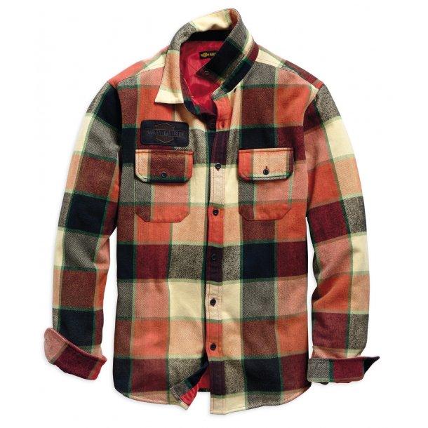 Men's Logo Lined Slim Fit Plaid Shirt Jacket
