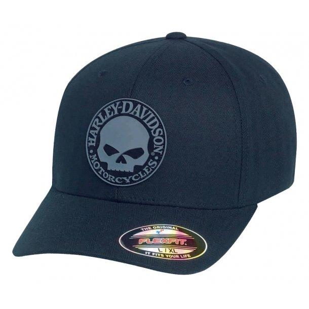 Harley-Davidson® Men's Rubber Skull Patch Stretch Cap Hat, Black/Grey. 99409-16VM