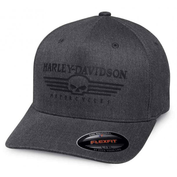 Harley-Davidson® Men's Silicone Skull Stretch Baseball Cap, Charcoal