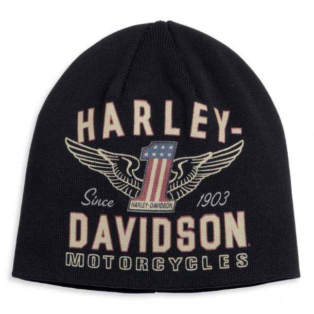 Harley-Davidson® Men's Winged #1 Graphic Knit Beanie Hat, Black