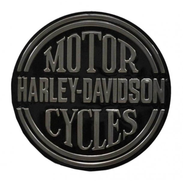 Harley-Davidson® Embossed H-D Platinum Disc Round Tin Sign, Black
