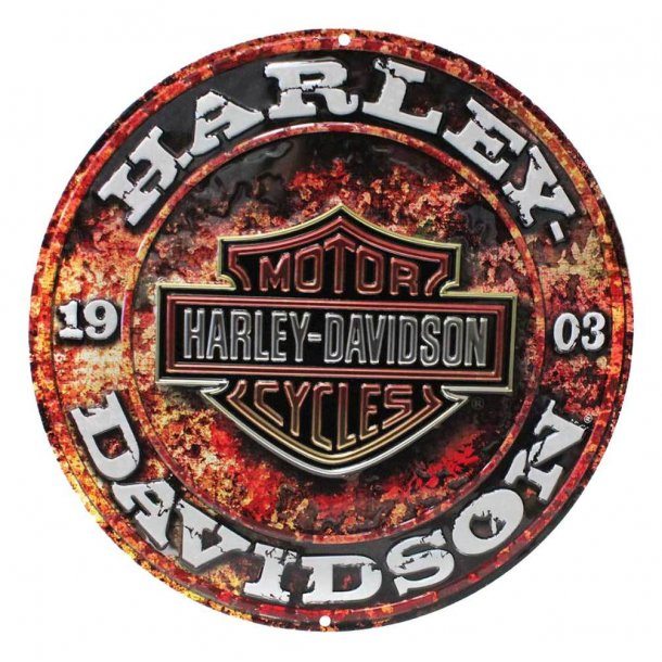 Harley-Davidson® Embossed Stone Rust Bar & Shield Tin Sign, Round 14 inch