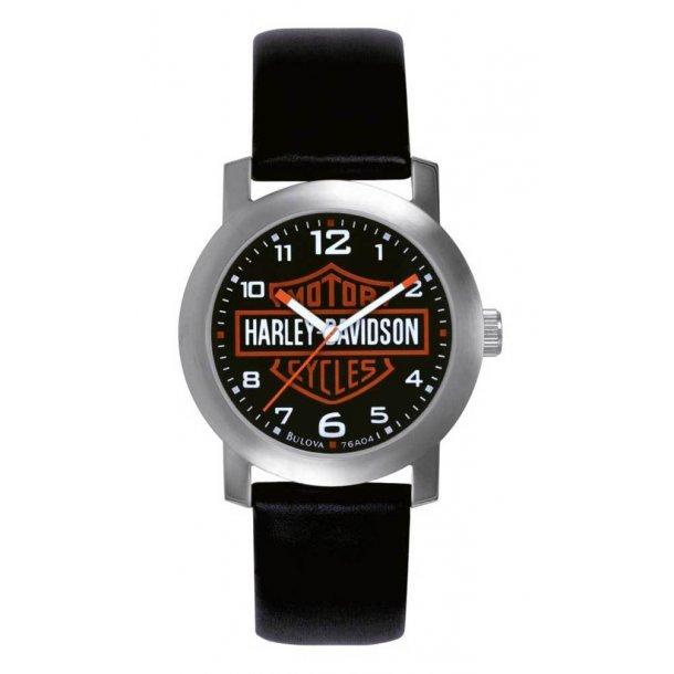 Harley-Davidson® Men's Bar & Shield Leather Wrist Watch