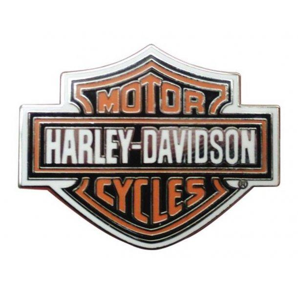 Harley-Davidson® Orange Bar & Shield Silver Pin