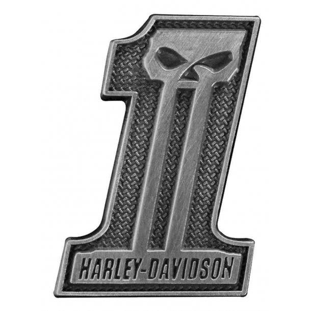 Harley-Davidson® #1 Skull Pin, Antiqued Silver Finish