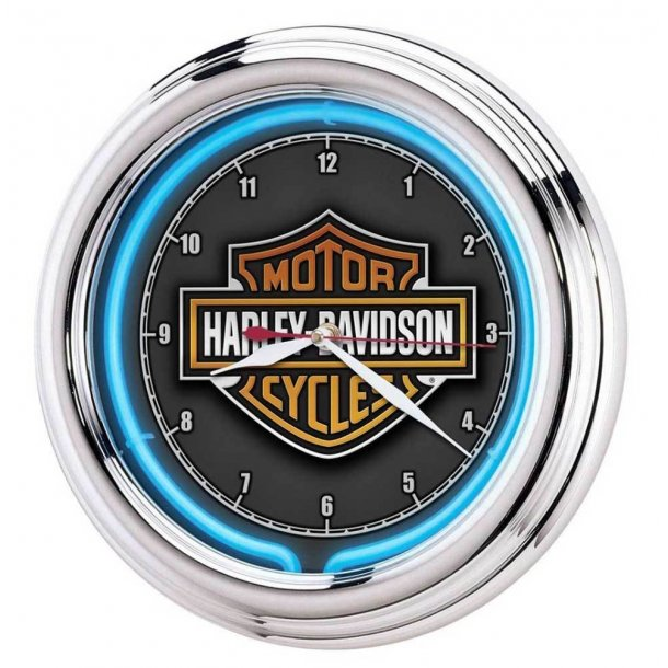 'Harley-Davidson® Essential Bar & Shield Blue Neon Clock