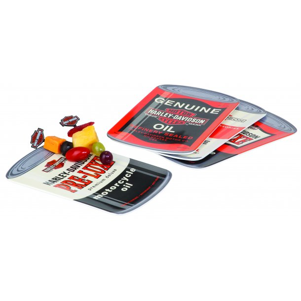 OIL CAN SNACK PLATE SET MELAMINE