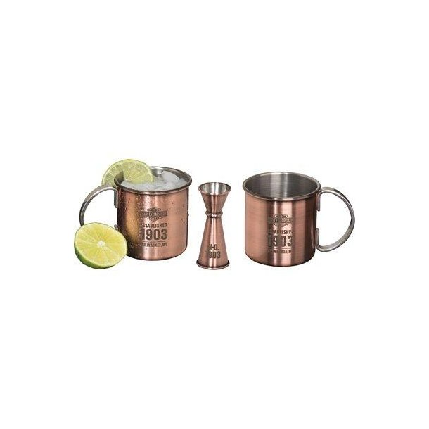 Harley-Davidson Moscow Mule Cocktail Set Two Mugs &  A Jigger