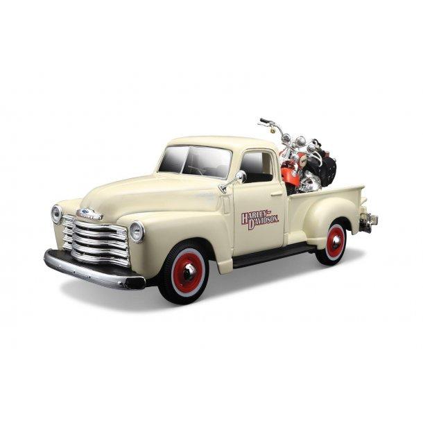 1950 Chevrolet 3100 Pickup Truck Harley Davidson 1:25 With 2001 FLSTS Heritage