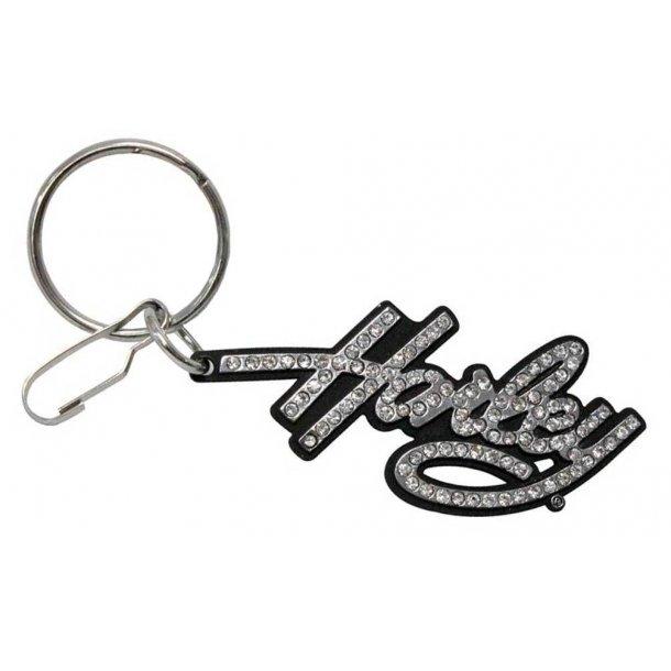 Harley-Davidson® Bling Rhinestone Harley Script Enamel Key Chain