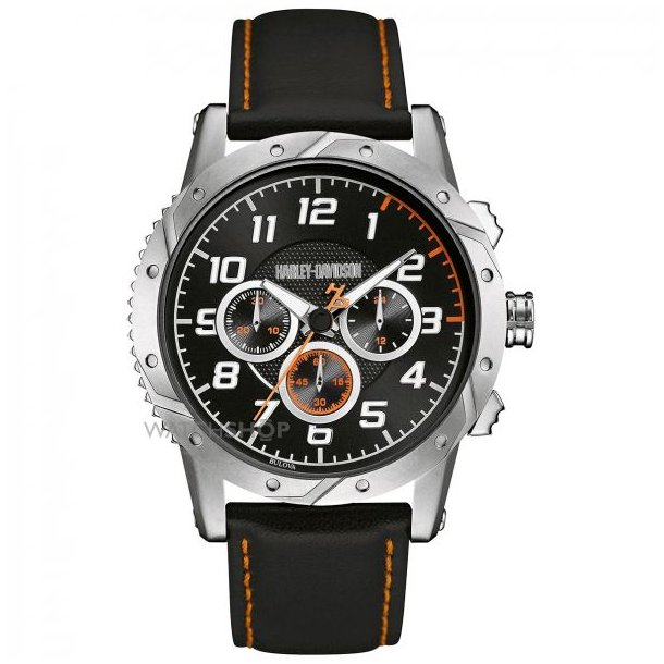 Men´s Six Hand Chronograph Brake Plate Design Black Watch