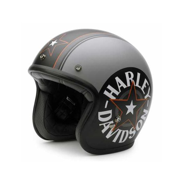 H-D Grey Star Retro 3/4 Helmet