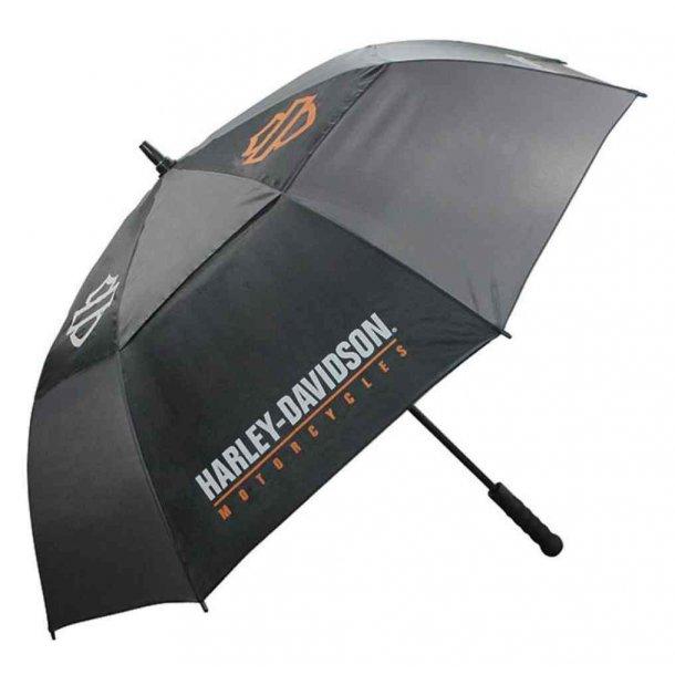 Harley-Davidson® Bar & Shield HD Script Golf Umbrella, Black & Charcoal