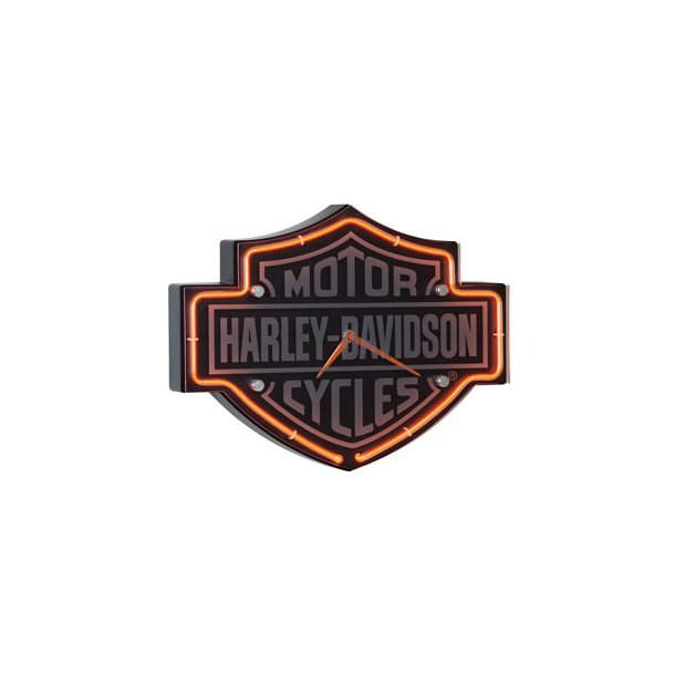 H-D® Etched B&S Shaped Neon Clock - 220V.