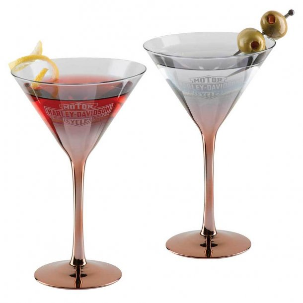 Harley-Davidson® Copper Ombre Bar & Shield Martini Glass Set - 6 oz.