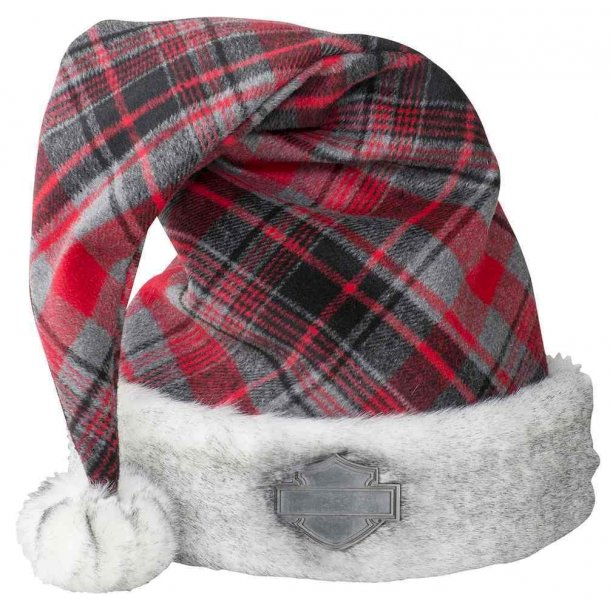 Harley-Davidson®Holiday Santa Hat - Red Plaid w/ Satin Lining