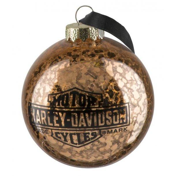 Harley-Davidson® Copper Ball Glass Ornament, Distressed Finish - 3
