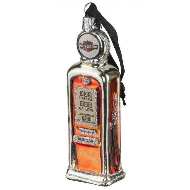 Harley-Davidson® Blown Glass B&S Gas Pump Ornament, Glitter Accents