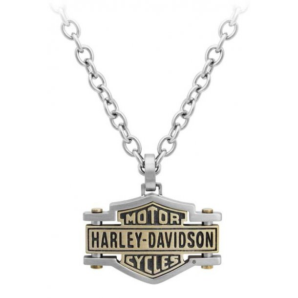 BAR & SHIELD BRASS AND STEEL CHAIN NECKLACE