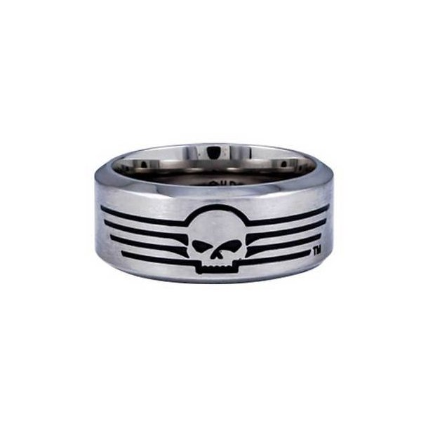 Harley-Davidson® Men's Willie G Skull Lines Stainless Steel Band Ring