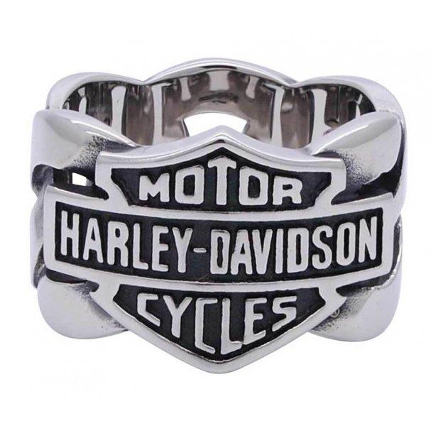 Harley-Davidson® Men's Bar & Shield Stainless Steel Chain H-D Ring