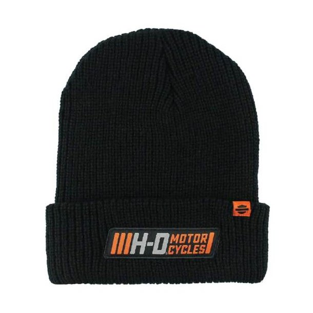 Harley-Davidson® Men's Traction Woven Rib Knit Cuffed Beanie Cap, Black